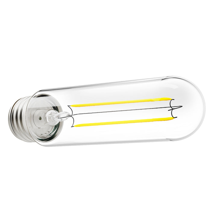 Seen here horizontally outside of a light fixture, the waterproof Sunco's T10 LED Tubular Filament Bulb 5 W creates a vintage styling or retro look. Features a clear glass housing and an E26 base. Ideal for wall sconces and dining room fixtures for indoor or outdoor applications. Great for open fixtures and pendant fixtures to show off the vintage look of LED filaments.