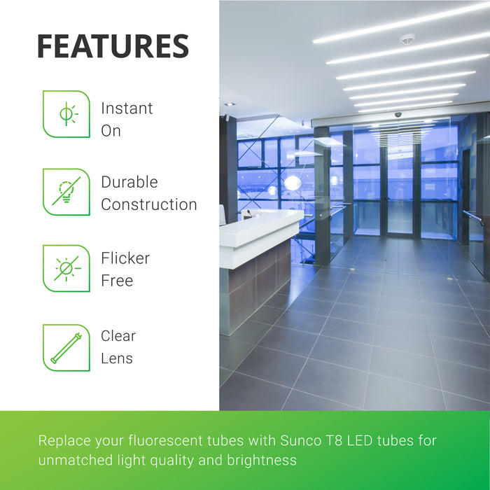 Replace your fluorescent tubes with Sunco T8 LED Tubes for unmatched light quality and brightness (1800 lumens!). These instant on LED tubes, unlike fluorescents are instant on, no flickering, and feature a durable construction. Image shows a bright reception space with LED Tubes in overhead light fixtures. The brightly lit space offers linear style and task lighting for your office building.
