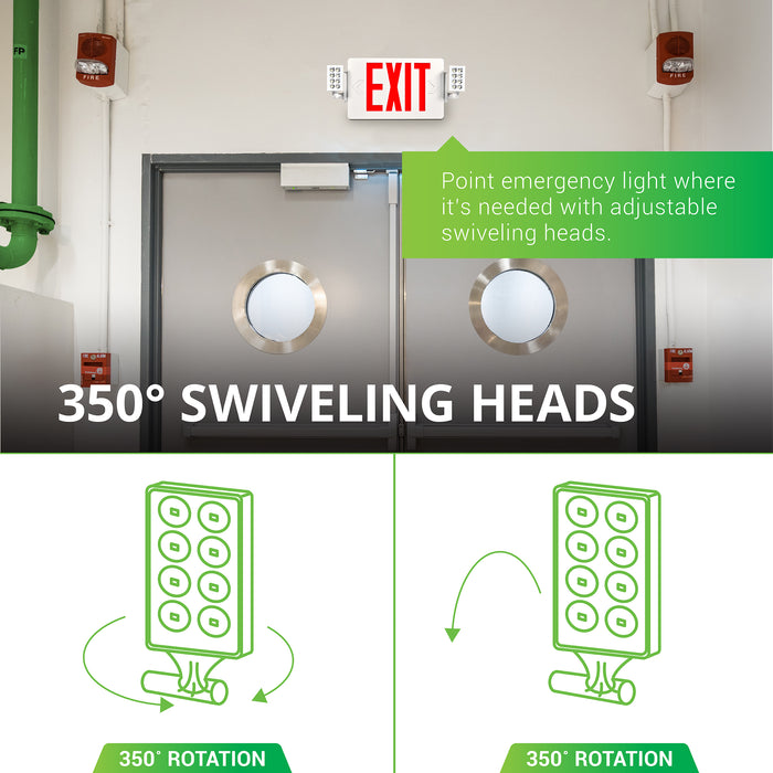 350-Degree Swiveling Heads. You can point this emergency light where it is needed most with its adjustable, swiveling heads. Image shows the light on a stairwell to provide light during a power outage. Rotate the heads 350-degree vertically or horizontally to position the light beam as appropriate for each light application. Seen here in restaurant kitchen.