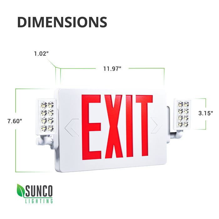 LED Dimensions of the red 2 Head LED Exit Sign with floodlights: Width: 11.97 inches, Height: 7.60 inches, Depth: 1.02 inches. Features a fire resistant ABS plastic housing, dual directional arrows you can reveal or not by removing knockouts, and an extra faceplate so you can a single- or double-sided emergency sign for hallway walls or ceiling mounted positions.