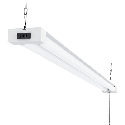 This double strip Utility Shop Light with frosted tube covers features an integrated LED with a power cord and a pull chain. Comes with hanging chains and is capable of linking with up to 4 other Utility Shop Lights from the same power source. Shown here suspended with the included chains, the plug seen on the end cap of the LED light fixture is used for that purpose only and is not an outlet for powering tools or other devices.
