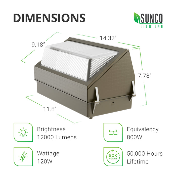 Dimensions of the 120W Sunco LED Wall Pack: 18.29-inch length, 9.39-inch depth, and 9.1-inch height. The durable light fixture is airtight and IP65 rated for exterior use.