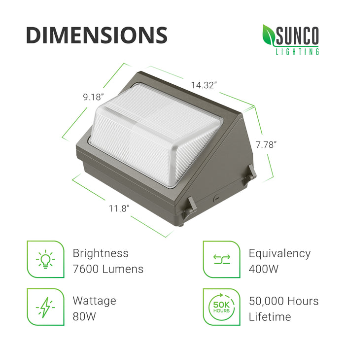 Dimensions of the 80W LED Wall Pack: 14.2-inches width at top, 7.4-inches deep, 9.2-inches tall, and 11.8-inches wide at base. Sunco provides a simple, straightforward installation guide and product manual with every LED Wall Pack. This LED fixture is an 80W LED that is a 400W equivalent. The commercial grade LED light fixture provides 7600 lumens of brightness and runs on 120/277V.