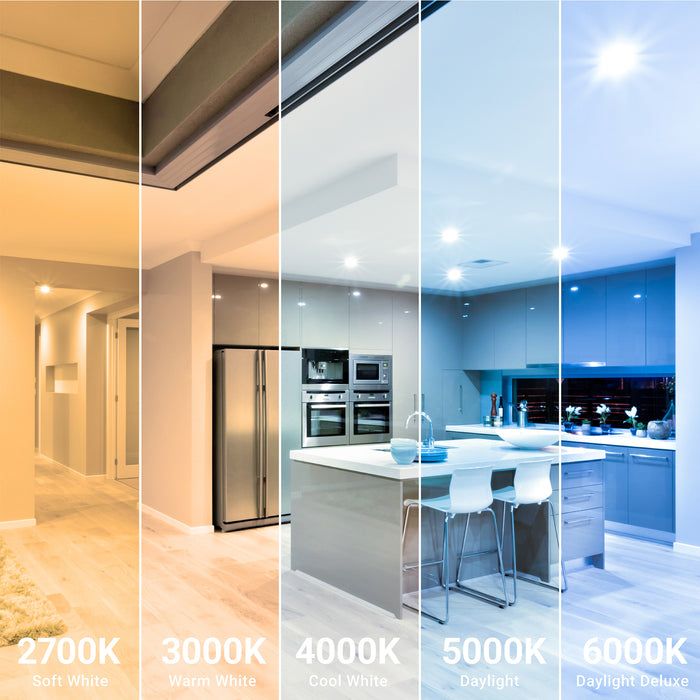 Choose between various color temperatures for the 6-inch Slim LED Downlight including: 2700K Soft White, 3000K Warm White, 4000K Cool White, 5000K Daylight, 6000K Daylight Deluxe. This kitchen space is shown with multiple color temperatures from cool to warm tone to show the varied lighting you can achieve with different color temp choices.