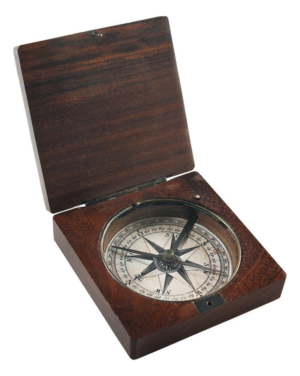 18th c. Explorer's Wooden Box Compass