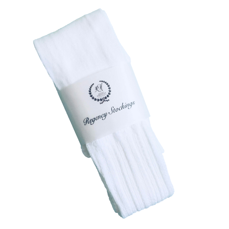 Regency Openwork Cotton Stockings ~ Pure White