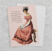 "Jane Austen Notecard ~ ""Here I am once more in this scene of dissipation..."""