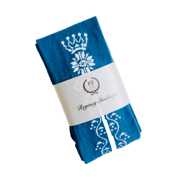 Regency Crown Clocked Cotton Stockings ~ Rich Blue and White