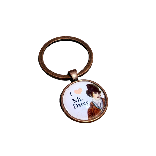 """I Heart Mr. Darcy"" Bronze Keychain"