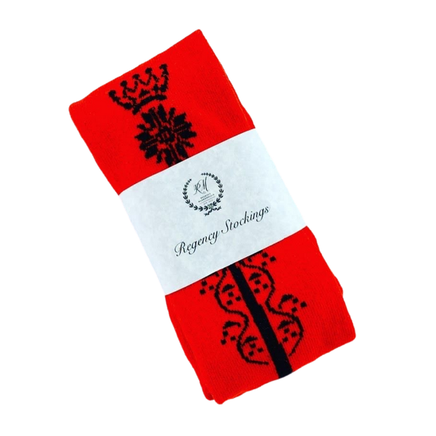 Regency Crown Clocked Cotton Stockings ~ Red and Black