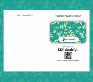 New!  Regency Marketplace Gift Cards ~ Available in Several Amounts