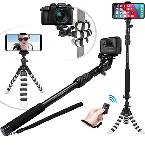 Best Flexible Tripod & Selfie Stick 6-in-1 Kit w/ Bluetooth Remote – Best Video & Vlog Stand for Any Phone, GoPro or Camera: iPhone XS Max / XS / X / 8 / 7 / 6 / Plus, Samsung S9, Hero 7