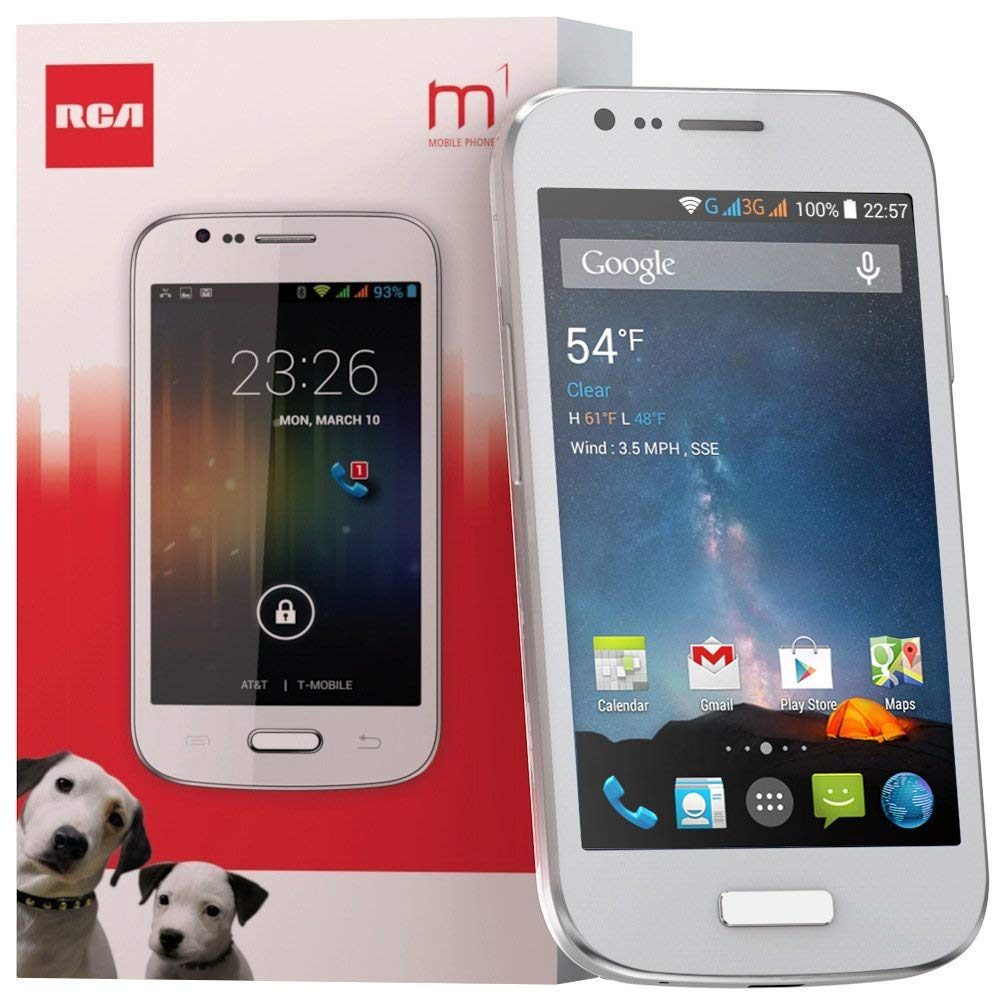 Unlocked Cell Phone 4 inches RCA M1 4.0 , Dual SIM, 5MP Camera, Android 4.4, 1.3GHz (White)