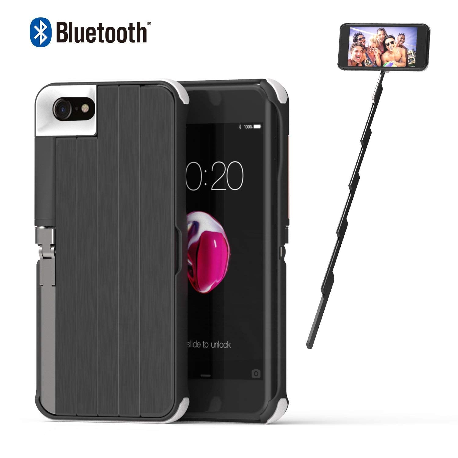 Selfie Stick Case for iPhone 7/8  iPhone 8 Case Black iPhone 7 Case with Rechargeable Wireless Bluetooth Selfie Stick Extendable Aluminium Kickstand Hard Case Protection Shockproof