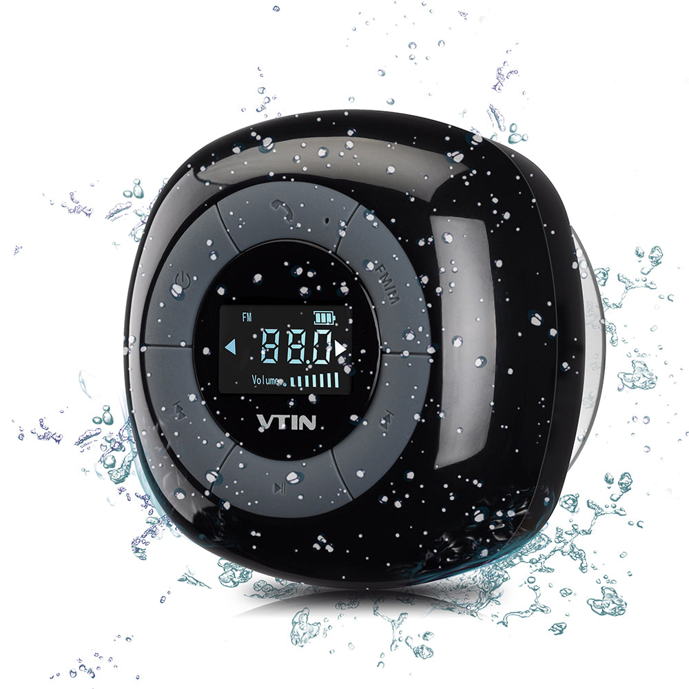 Mini waterproof wireless speaker FM radio bluetooth 4.0 build in microphone water resistant shower speaker with LCD screen