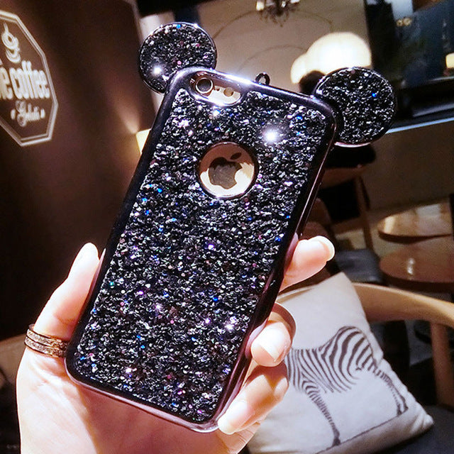 ddd9884b1e Rhinestone Glitter Bling 3D mouse ear Phone Case include Soft Silicone  plating Back Cover for iPhone ...