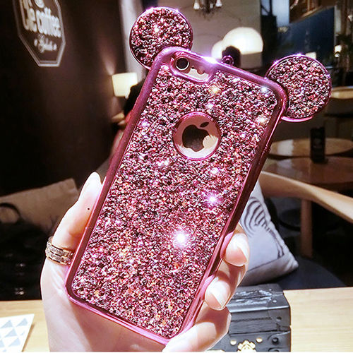 0a42c81ffc ... Rhinestone Glitter Bling 3D mouse ear Phone Case include Soft Silicone  plating Back Cover for iPhone ...