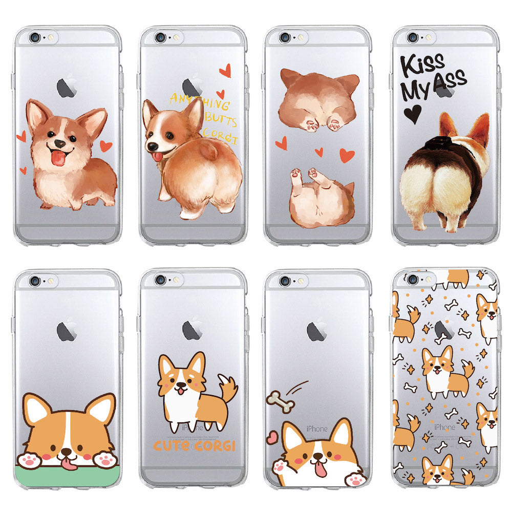 Cute Corgi Butt Animal Puppy Soft Clear Phone Case Cover For iPhone 7 7Plus 6 6S 8 8PLUS X SAMSUNG GALAXY