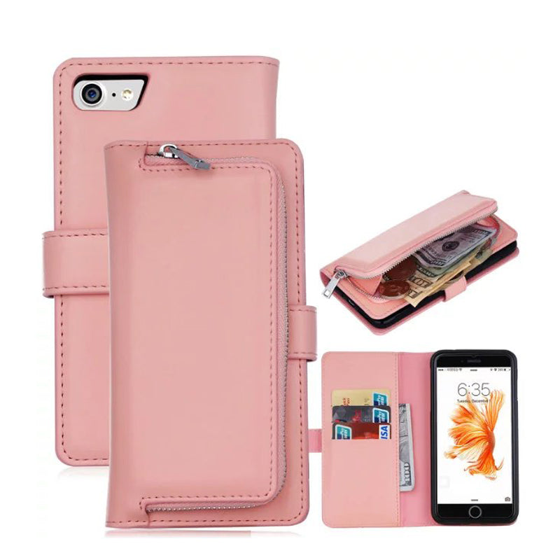 Wallet Case Back Cover For Apple iPhone X 6 6s Plus 7 7plus 8 8plus Flip PU Leather CaseZipper Phone Bag