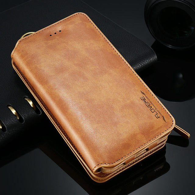 Wallet iPhone Case Classical Leather For iPhone X 8 7 6 6s Plus 5S Cases Retro Full Protective Pouch Cover