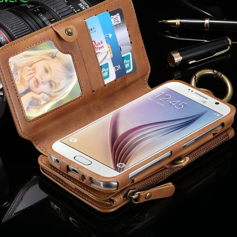 Wallet Phone Cases For Samsung Galaxy Note 4 3 Case Metal Zipper Leather Coque For Samsung S7 S8 Plus S6 Cover