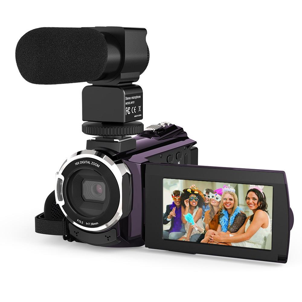 Digital Video Camera Camcorder Recorder w/External Microphone Touchscreen Night Sight Digital Camera 4K 1080P 48MP WiFi