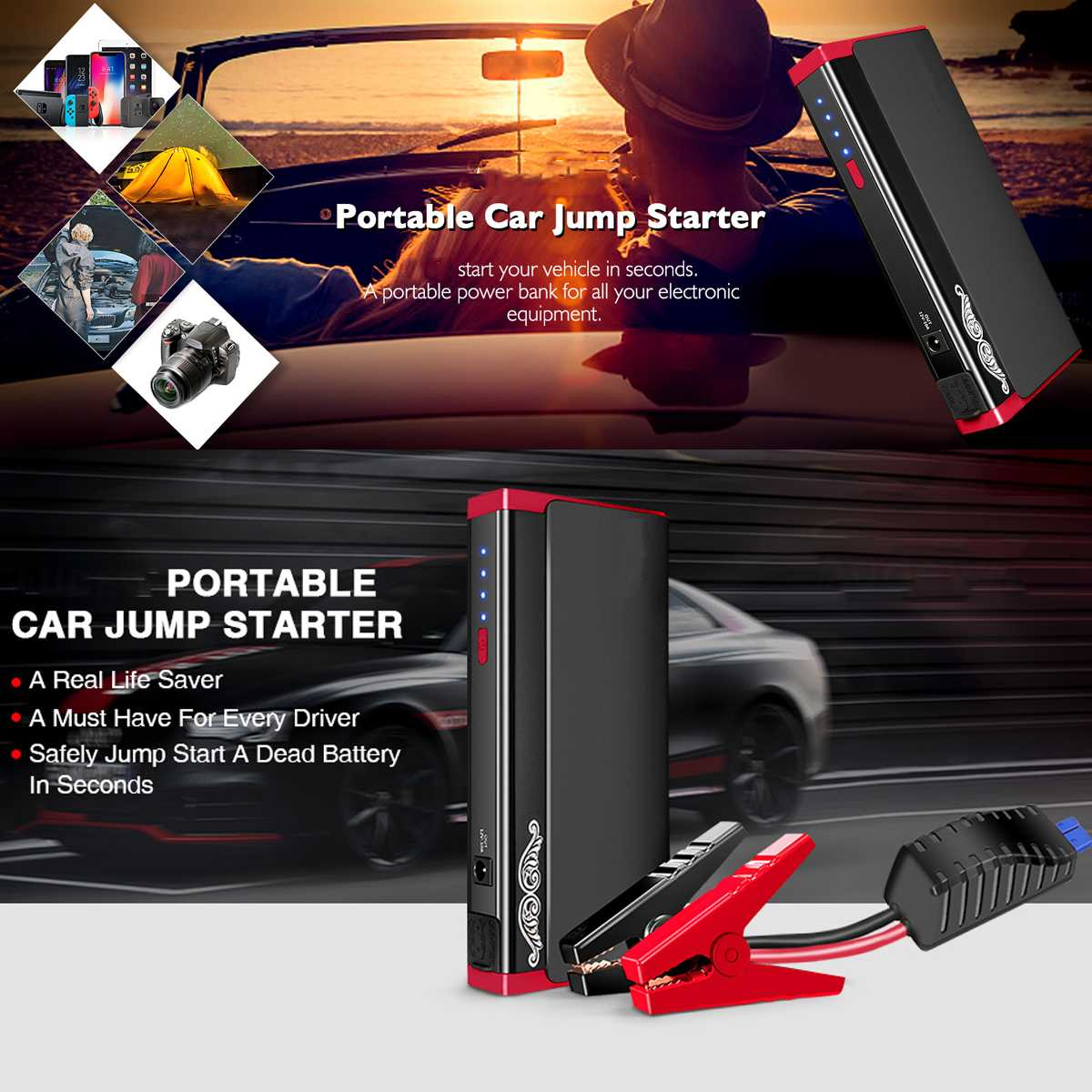 Car Jump Starter 13800mA Portable Booster Battery Charger 2 USB LEF Power Bank Starting Device Petrol Diesels