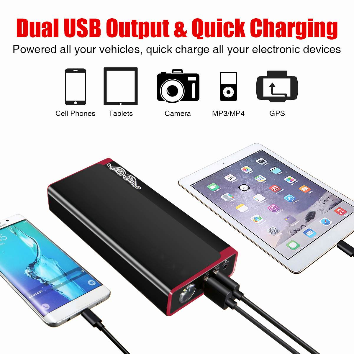 Car Jump Starter Portable LED  Booster Battery Charger 2 USB Power Bank Starting Device Petrol Diesels Car Starter