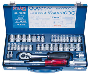 "KC Tools ProAm 10100 39 PIECE 1/4"" & 3/8"" DRIVE SOCKET SET"