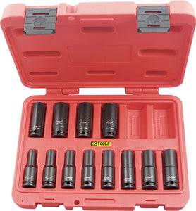 "KC Tools 11315-2 12 PIECE 1/2"" DRIVE DEEP METRIC SOCKET SET"