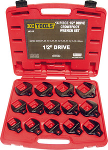 "KC Tools 11317 14 PIECE 1/2"" DRIVE IMPACT CROWS FOOT SPANNER SET - METRIC"