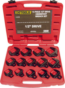 "KC Tools 11318 14 PIECE 1/2"" DRIVE IMPACT CROWS FOOT SPANNER SET - AF"