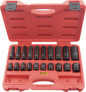 "KC Tools 11321 20 PIECE 1/2"" DRIVE METRIC STANDARD & DEEP SOCKET SET"