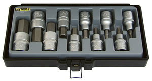 KC Tools 13669 10 PIECE 1/2' DRIVE IN-HEX SOCKET SET