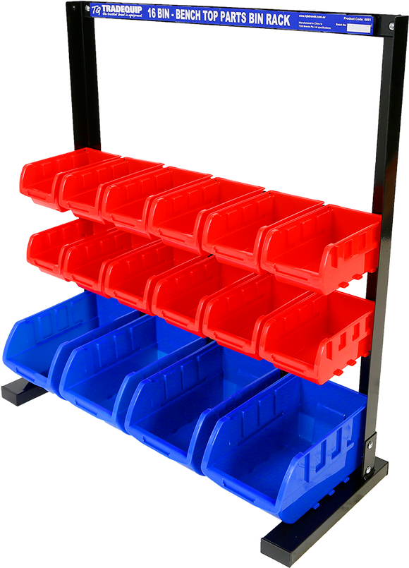 Tradequip 6051 Parts Storage Bin Rack 16Bin