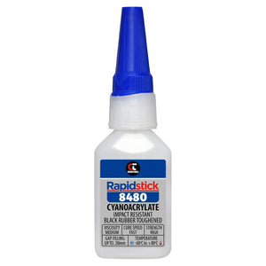 Chemtools CT-8480-20 Cyanoacrylate Adhesive (Impact Resistant, Black Rubber Toughened) 25ml