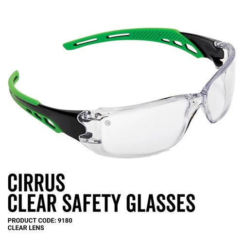 Pro Choice 9180 Cirrus Green Arms Safety Glasses Clear A/F Lens