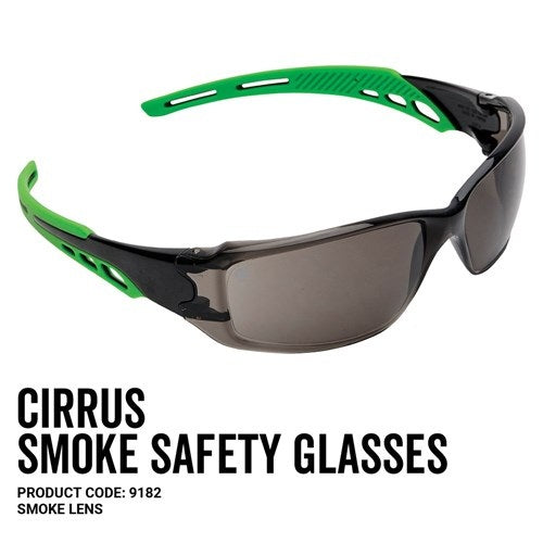 Pro Choice 9182 Cirrus Green Arms Safety Glasses Smoke A/F Lens