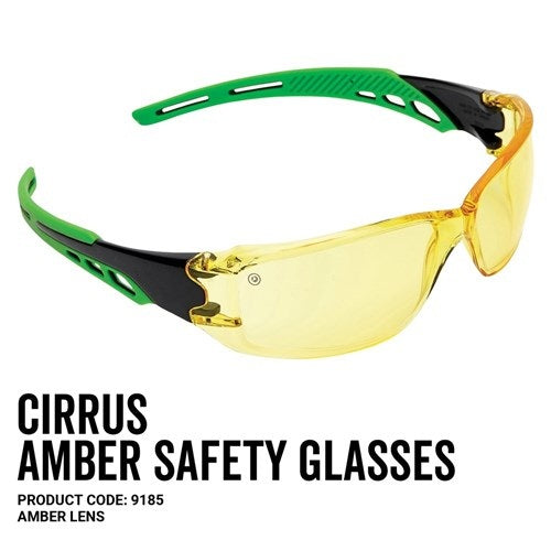 Pro Choice 9185 Cirrus Green Arms Safety Glasses Amber A/F Lens