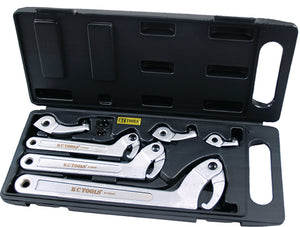 KC Tools A13044 3 Piece Hook Wrench Set With Spare Hooks And Pins