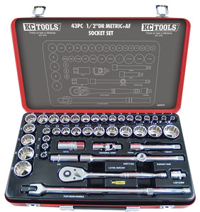 "KC Tools A13170 43 PIECE 1/2"" DRIVE METRIC & AF SOCKET SET"