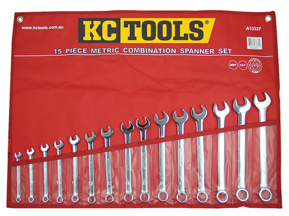 KC Tools A13337 15 PIECE METRIC COMBINATION SPANNER SET