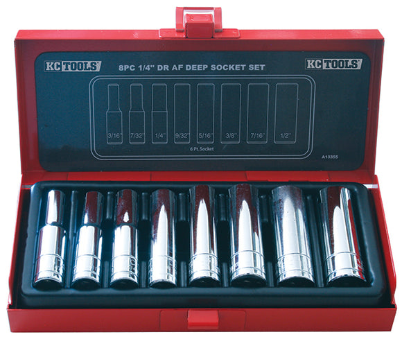 KC Tools A13355 8 PIECE 1/4' DRIVE DEEP AF SOCKET SET