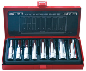 "KC Tools A13356 8 PIECE 1/4"" DRIVE DEEP METRIC SOCKET SET"