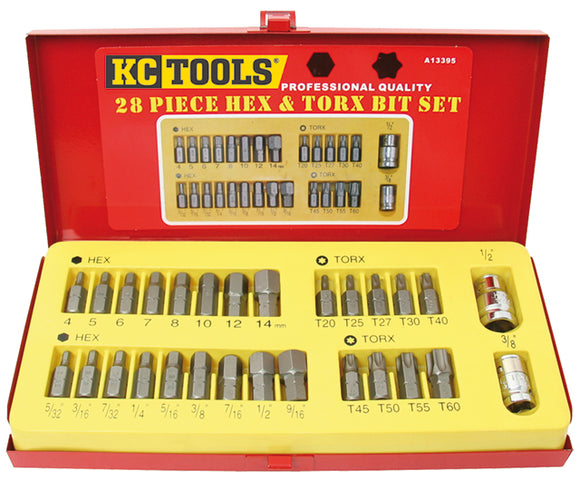 KC Tools A13395 28 PIECE BIT SET - 10MM SHANK