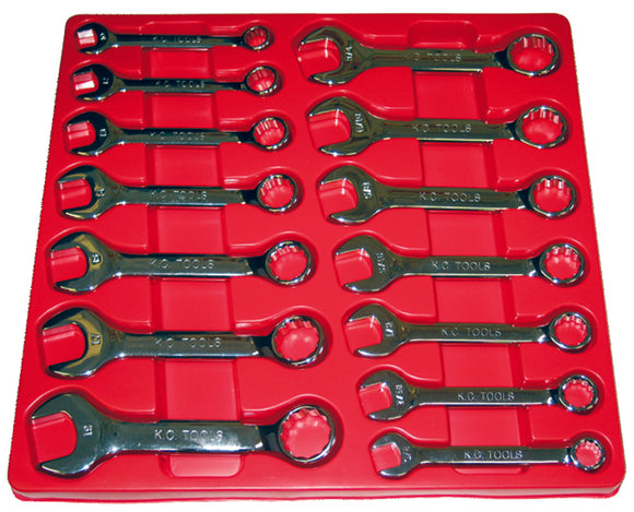 KC Tools A13502 14 PIECE METRIC & AF SHORT COMBINATION SPANNER SET