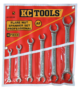 KC Tools A13536 6 Piece AF Flare Nut Spanner Set
