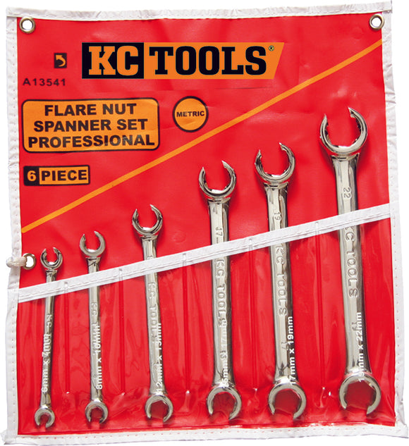 KC Tools A13541 6 PIECE METRIC FLARE NUT SPANNER SET