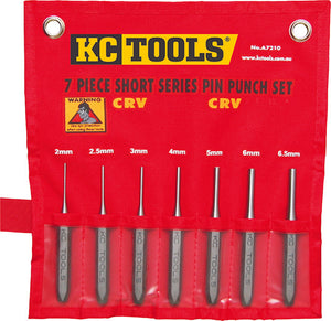 KC Tools A7210 7 Piece Short Series Pin Punch Set