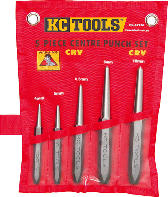 KC Tools A7230 5 PIECE INDUSTRIAL CENTRE PUNCH SET